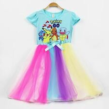 Children Girl Pokemon Blue Colorful Dress (Size 100)