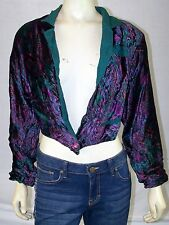 POINT TO POINT Vintage Multi-Color Cropped 100% Rayon Blazer Jacket S Small 4 6