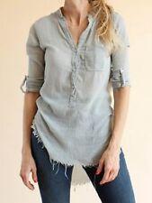 NSF Sera Gauze Cotton Button Down Tunic Blouse Off White Size: M Medium