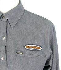 Harley Davidson Motorcycle Top Sz S Womens Gray Snap Front Cotton Blouse Shirt
