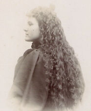 LONG LUXURIOUS HAIR! SEXY LADY VIXEN Classic Old PHOTO! 1890s GREAT SENSUAL POSE