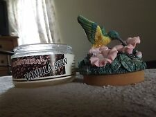 VANILLA BEAN CANDLE NEW AROMATHERAPY SPOONTIQUES HUMMINGBIRD & FLOWER TOPPER