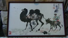 ANTIQUE CHINESE WATERCOLOR PAINTING DEPICTS A CAMEL &MAN RIDING A DUNKY,SIGNED