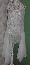 White Sequin/Beaded Chiffon Handkerchief Hem Sleeveless Vest Top Size 12 (3005)