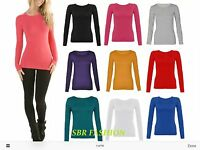 Ladies Womens Long Sleeve Plain Stretch Round Scoop Neck T Shirt Top 8-16