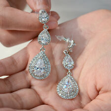 Wedding Bridal High-Q CZ Zircon Teardrop Dangle Earring Swarovski Crystal -E031