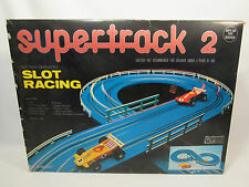 Vintage 1970's PlayArt Super Track 2 Slot Racing Goodyear Track & Cars Set
