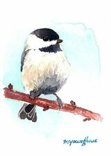 ACEO Limited Edition - Chickadee in white