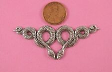 """ANTIQUE SILVER PLATED BRASS """"DOUBLE SNAKE"""" MOTIF FINDING - 1 PC(s)"""