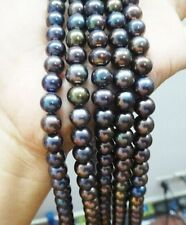 "Lot 5 Pcs 15.7"" 8-9mm Genuine Black Redish Pearl Loose bead Necklace"