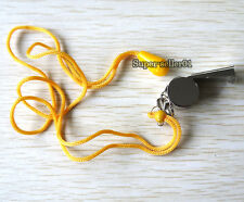1Pcs Stainless Steel Judge Whistle+ Lanyard Cord for School Sports Pet Training