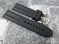 24mm HQ Soft Rubber Diver Strap Black Watch Band PANERAI PAM Blue Stitch