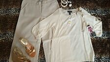 Women's Fab Size 8 Outfit Pants, NWT Sweater Wedge Sandals Bangles Earrings Ring