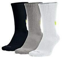 NIKE Dri-FIT Cushioned HBR 3-Pack Crew Socks sz L Large (8-12) Black Grey White