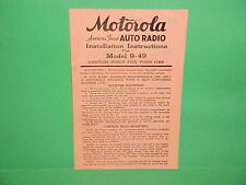 1939 MOTOROLA MODEL 9-49 AUTO CAR RADIO OWNERS SERVICE MANUAL GM CHEVROLET FORD