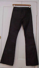 JEAN CLAUDE JITROIS PARIS LEATHER SKINNY FLARE STRETCH PANTS CHOCO BLACK 36 sz 6