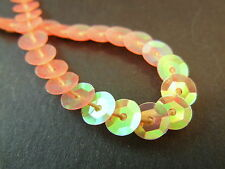 5 meters 6mm Faceted Round Sequin Fabric Trim Lining String - Peach AB Trans
