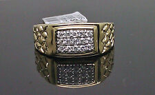10K Men's Yellow Gold Nugget Ring With 0.25CT Round Diamond /Men's Band
