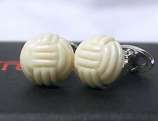 TUMI トゥミ Carved Stone Knot Beige 925 Silver CuffLinks Men Father Holiday Gift