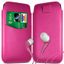 CARD SLOT PU LEATHER PULL FLIP TAB CASE COVER POUCH & EARPHONES FOR SONY PHONES