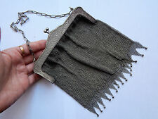 Antique French large Metal Mesh Bag/Purse with Ornate frame circa 1900's