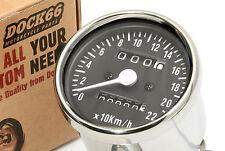 Mini Tacho chrom / schwarzes Ziffernblatt für Harley & Chopper, Speedo chrome