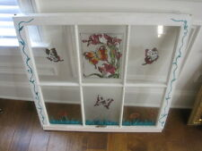 Hand painted stained glass window with dried flowers & butterfly - girl's room