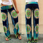 Floral Casual Wide Leg Yoga Long Pants High Waist Palazzo Trousers Plus Size New
