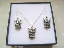 *CUTE WISE OWL* Gift Set Necklace Earrings SP GIFT BOX