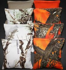 CORNHOLE BEAN BAGS All Weather Resin Filled REALTREE Orange Camo Hunting Fishing