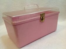 "Vintage Wil-hold Sewing Notions 12"" Supply Box USA Clear Top Pink Bottom Tray"
