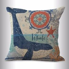 US SELLER- cotton throw pillow beach coastal ocean animal whale cushion cover