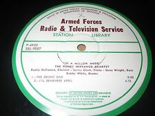 "33RPM 16"" Transcription Armed Forces Radio, Buddy DeFranco, In a Mellow Mood E"