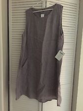 LINEN FLAX Designs POCKETED SHIFT Dress Tunic Purple LAVENDER TWEED Sz 2G 2X