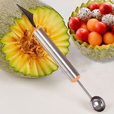 Fruit Melon Carving Knife Ice Cream Scoop Spoon Melon Baller Stainless Steel New