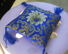 "Square Silk Tibetan Singing Bowl Cushion for Dharma 6"" Blue and Gold"