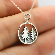 TREE NECKLACE - 925 Sterling Silver - Mountain Charm Forest Necklace Pine Tree