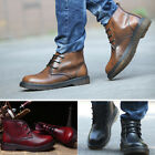 New Brand Men's Real Leather Short Ankle Boots Lace-up Boots Handsome Shoes X259
