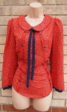 PRIMARK TERRACOTTA CORAL NAVY BLUE HEART PRINT BUTTONED BLOUSE TUNIC TOP VEST 12