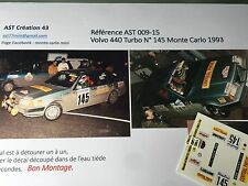 NEW Decal 1 43 VOLVO 440 TURBO N°145 Rally WRC MONTE CARLO 1993 MONTECARLO