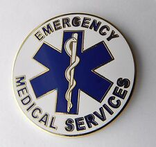 LARGE LAPEL PIN EMS EMERGENCY MEDICAL SERVICES EMT PARAMEDIC WREATH BADGE 1.5 ""