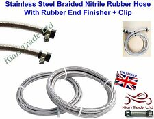 6mm Stainless steel braided Nitrile rubber Hose fuel Pipe+ End Finisher x 100mm