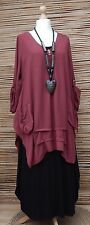LAGENLOOK AMAZING STUNNING QUIRKY 2 POCKETS LONG TUNIC*MAROON*BUST UP TO 48""