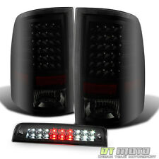 2009-2016 Dodge Ram 1500 2500 Blk Smoke LED Tail Lights+LED 3rd Brake Cargo Lamp