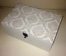 Shabby Chic Damask White Washed Wood Storage Trinket Box NEW Christmas Gift
