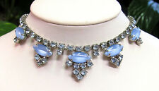 Vintage Juliana Blue Moonstone Rhinestone Silver Tone Choker Necklace