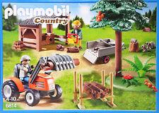 Playmobil 6814 Holzfäller mit Traktor Anhänger Motorsäge Schuppen Holz Baum NEU