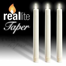 White Flameless LED Taper Candle Reallite Real Genuine Taper Flicker