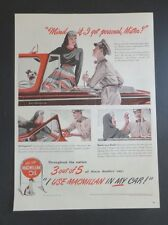 Original Print Ad 1946 MACMILLAN OIL 3 out of 5 Use in My cAr 1940s Fashion