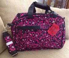 NWT LOUNGEFLY HELLO KITTY PINK BLACK LEOPARD DUFFLE WEEKENDER BAG CARRY ON GYM